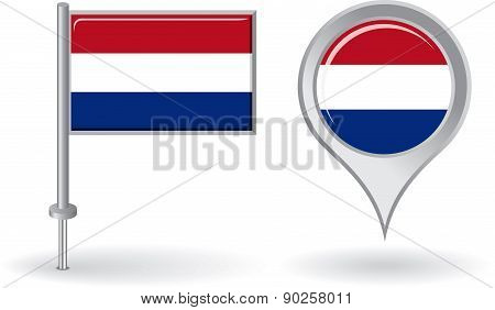 Dutch pin icon and map pointer flag. Vector