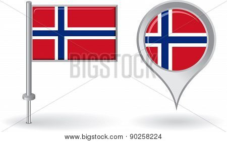 Norwegian pin icon and map pointer flag. Vector