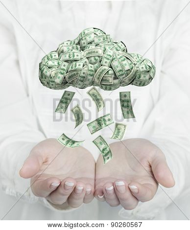 Female Hands Catching Falling Money From Cloud. Profit Concept.