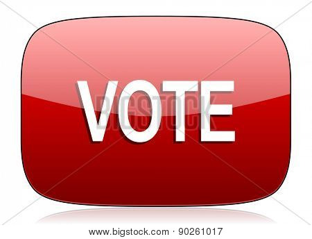 vote red glossy web icon