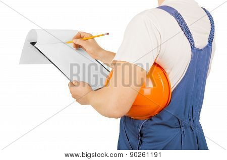 Construction Worker, Isolated On A White Background