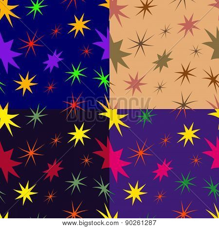Set Of Seamless Patterns From Stars