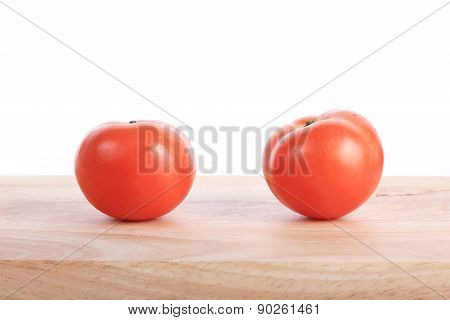 Tomato On Wooden Chopping Board Prepare Cooking