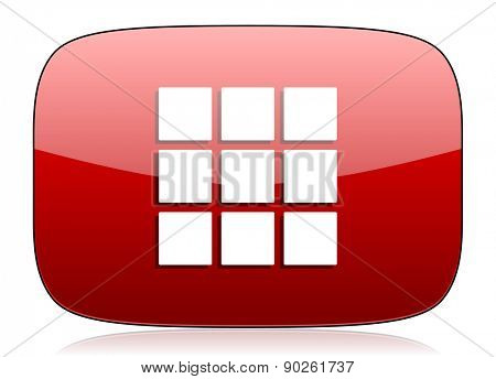 thumbnails grid red glossy web icon