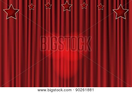 Red Curtain Background With Stars And Spotlights In The Center