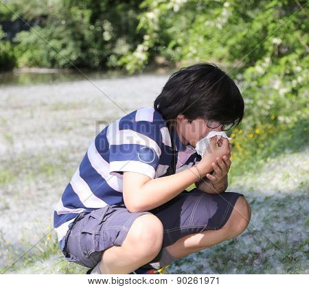 Young Boy With Pollen Allergy White Handkerchief