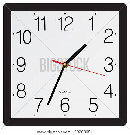 Square Simple Classic Wall Clock Isolated On White Background