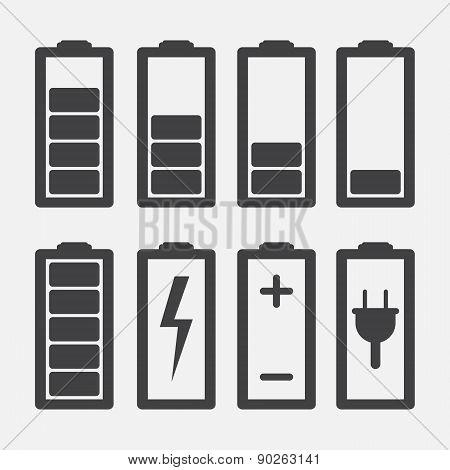 Set Of Battery Charge Level Indicators Isolated On White