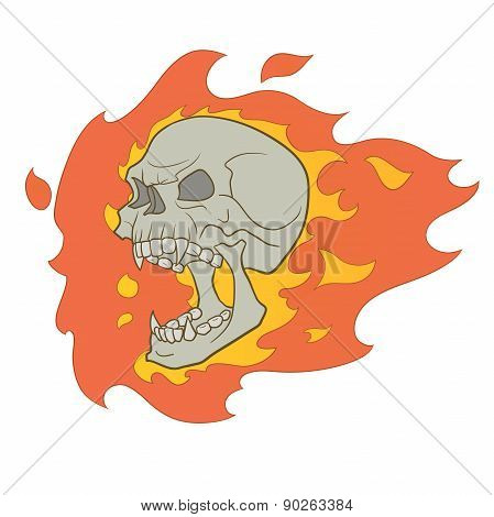 Skull With Fire