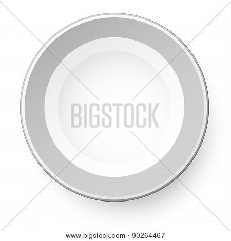 Simple Plate. View From Above. Isolated On White Background.