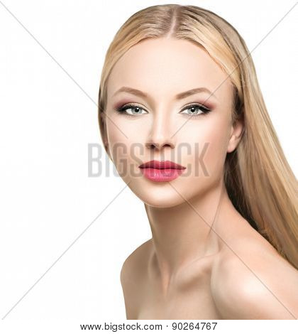 Beautiful woman with long blond straight hair. Portrait of fashion blonde model girl with bright makeup. Isolated on white background. Beauty female face close up with perfect make up
