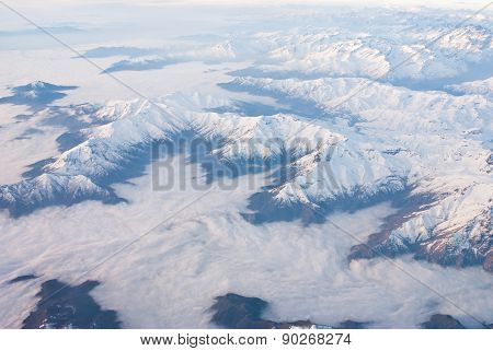 Andes region cloudy from the sky - aerial view
