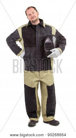 Welder in uniform.