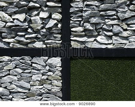 Real Rock And Artificial Grass.