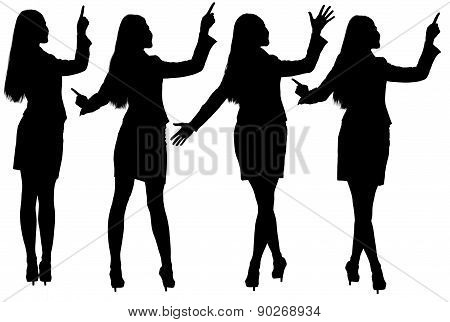 Silhouettes Of Businesswoman In Different Postures
