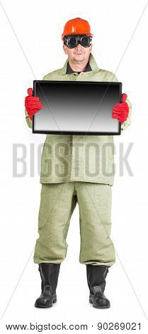 Welder in hard hat with screen.
