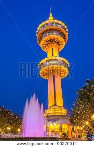 Banhan Chaemsai Tower In Suphanburi City,  Suphan Buri Province. Thailand.