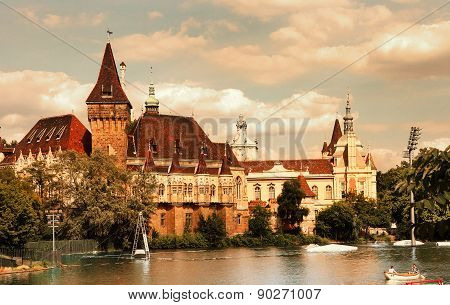 Budapest, Hungary - June 27, 2015: Vajdahunyad Castle View From Lakeside. Budapest, Hungary.  Instag