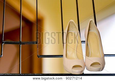White Stilleto Bridal Shoes Hanging