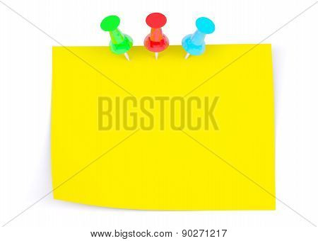 Yellow Sticker With Three Drawing Pins