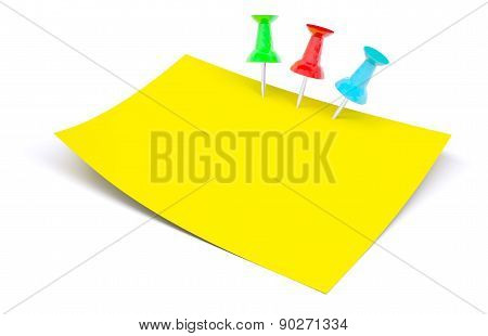 Yellow Sticker With Drawing Pins
