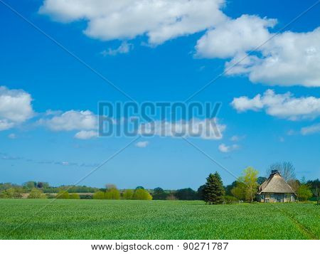 ancient farmhouse with thatched roof in the fields