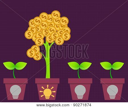Profitable business Idea. Tree with money and pot with symbol ideas. Vector illustration