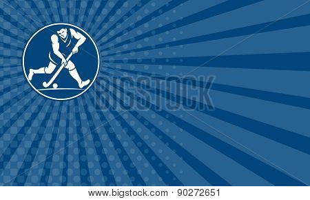 Business Card Field Hockey Player Running With Stick Icon