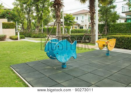 Children's Playground With Two Spring Riders