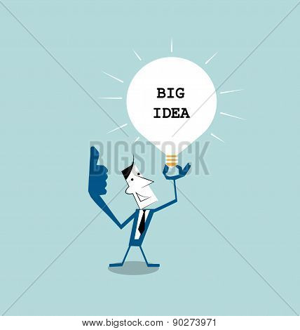 Businessman  Holding Light Bulb In His Hand, get The Big Idea