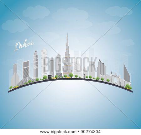 Dubai City skyline with gray skyscrapers, blue sky and copy space. Vector illustration