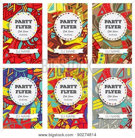 Set of Club Flyers with copy space and hand drawn pattern. Vector illustration