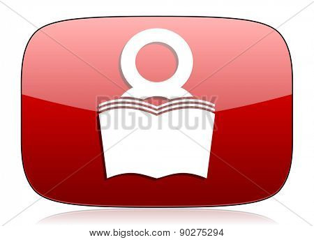 book red glossy web icon