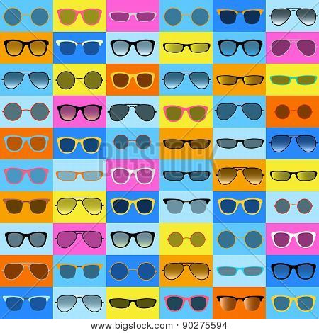 Glasses pattern on color background.