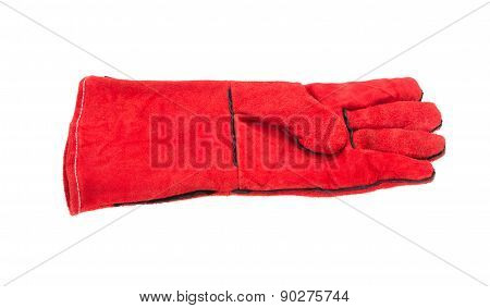 Heavy-duty red glove.