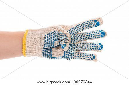 Thin work gloves shows four fingers.