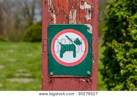 Sign With A Dog On A Leash