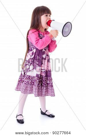 Girl Shouting Into Big White Megaphone