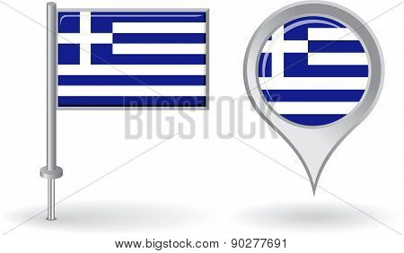 Greek pin icon and map pointer flag. Vector