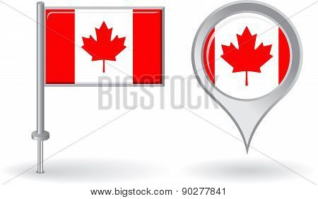 Canadian pin icon and map pointer flag. Vector