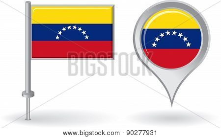 Venezuelan pin icon and map pointer flag. Vector