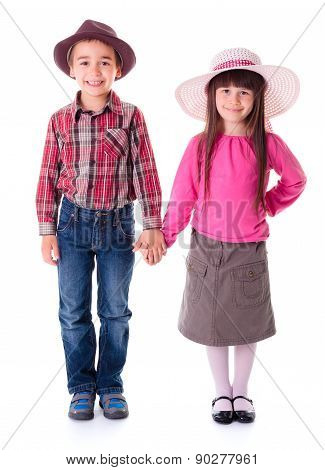Casual Girl And Boy Wearing Hats