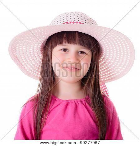 Portrait Of Little Girl Wearing Pink Summer Hat
