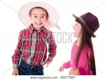 Happy Children Wearing Opposite Hats
