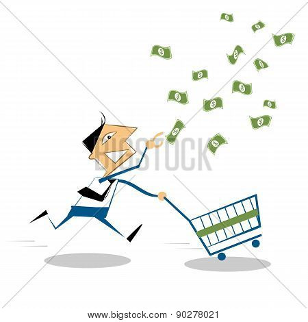 Vector Cartoon Businessman Running With Shopping Cart, To Grab The Money In The Air