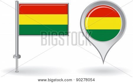 Bolivian pin icon and map pointer flag. Vector