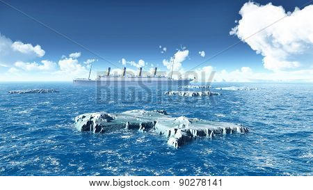 Icebergs and ocean liner