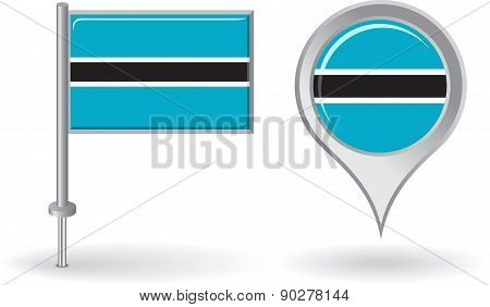 Botswana pin icon and map pointer flag. Vector