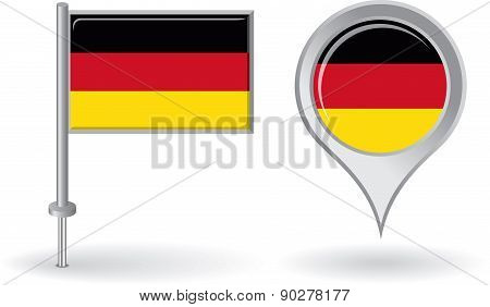 German pin icon and map pointer flag. Vector