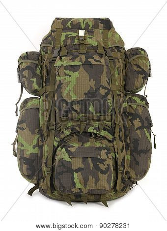 Military Backpack Isolated On White. Front.